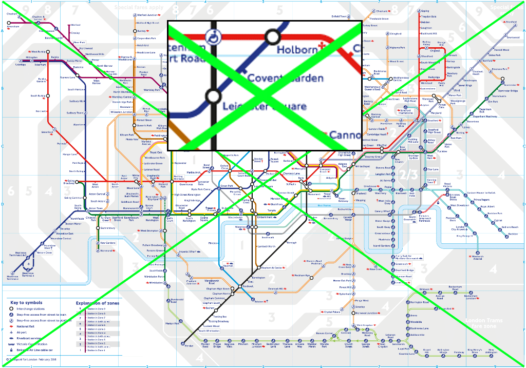 The centre of the London TFL tube map