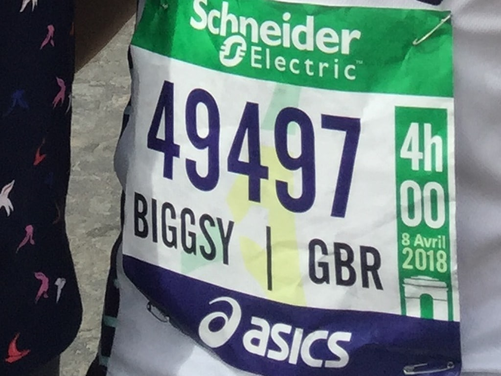 Paris Marathon tips - I signed up as 'Biggsy' so that's what went on my bib number