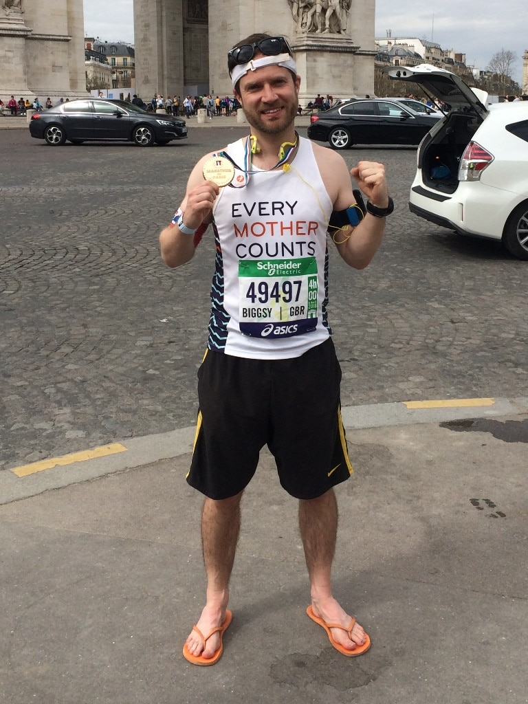 Paris Marathon tips - ever so glad that I packed my post finish flip flops