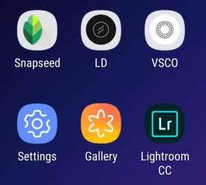 Snapseed, Light Distortion, VSCO and Lighroom CC apps