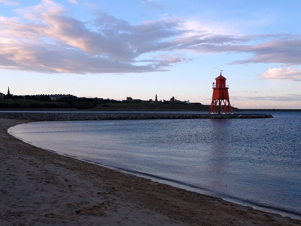 Reaching the end. The South Shields groyne lighthouse