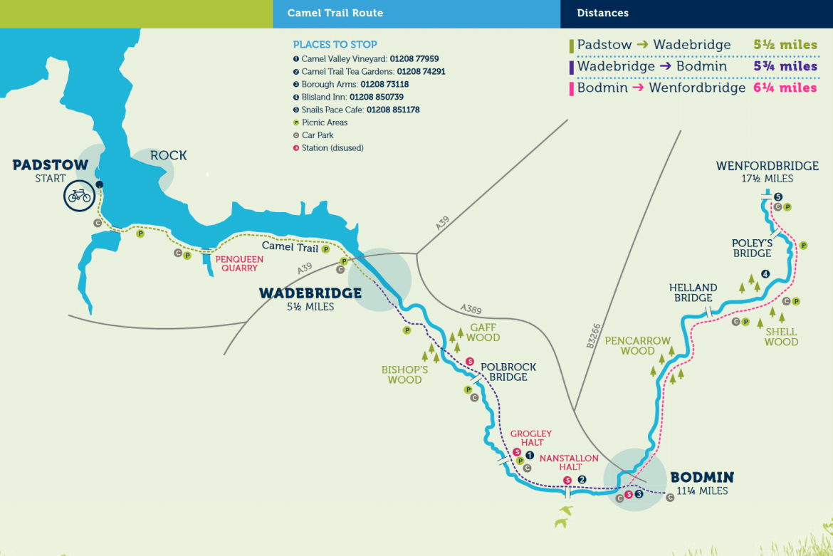 The Camel Trail route map