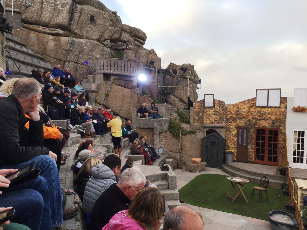 Finding our seat in the 3rd row at the Minack Theatre
