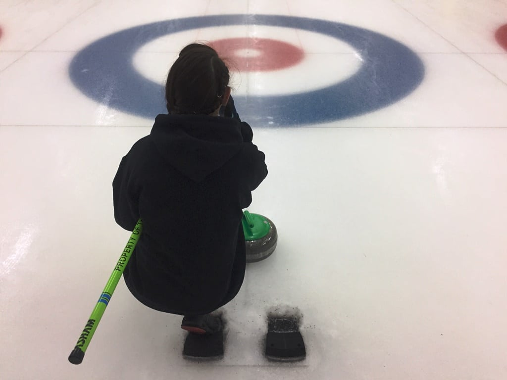 Thnking through her next move at Fenton's ice curling rink