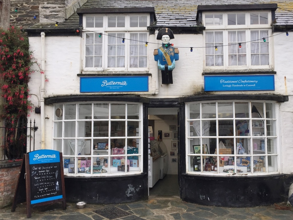 Buttermilk Confectionery store in Port Isaac. The Chemists in the TV show Doc Martin