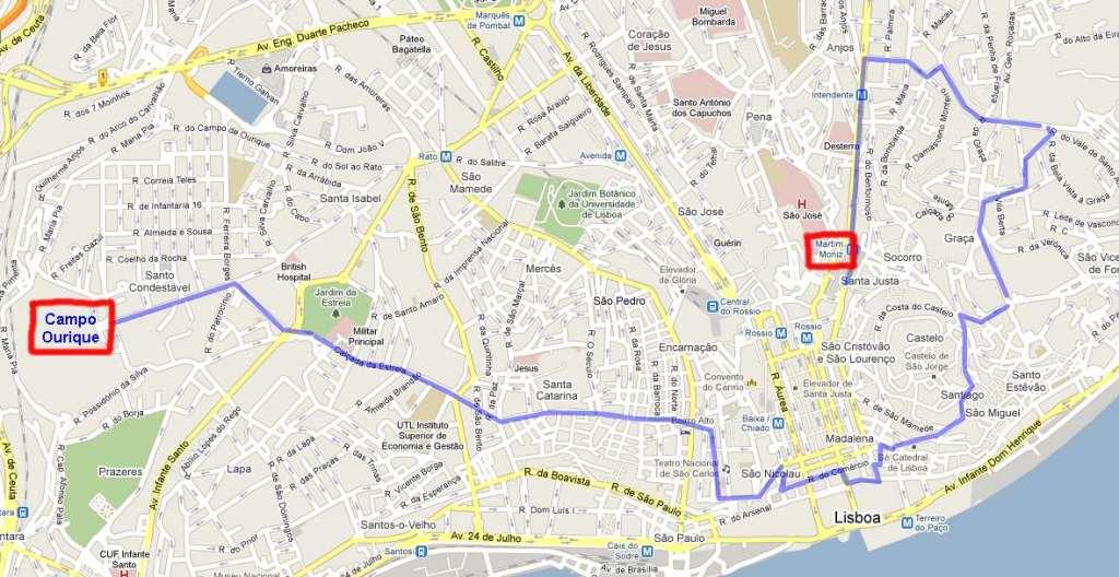 The Lisbon Tram 28 route map