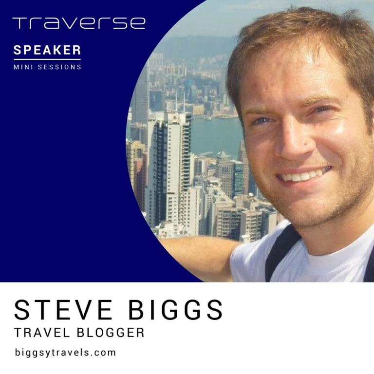 Introduction slide for speaker Steve Biggs at the Traverse 18 conference