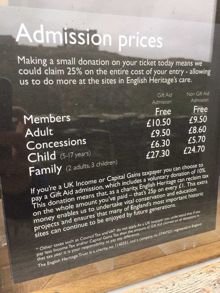 The initally confusing Tintagel Castle admission prices