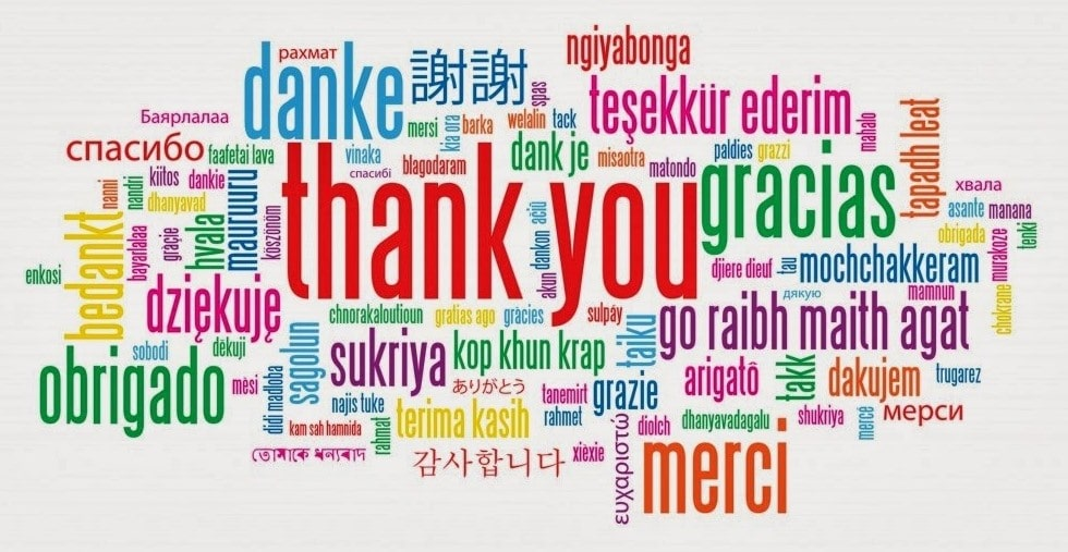 """A """"thank you"""" wordcloud"""