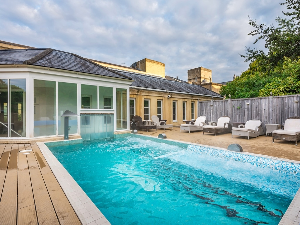The outdoor hydro pool at the MacDonald Bath Spa hotel