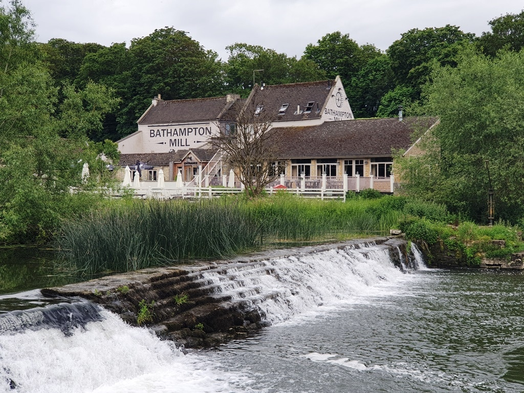 Bathampton Mill with the weir in the foreground