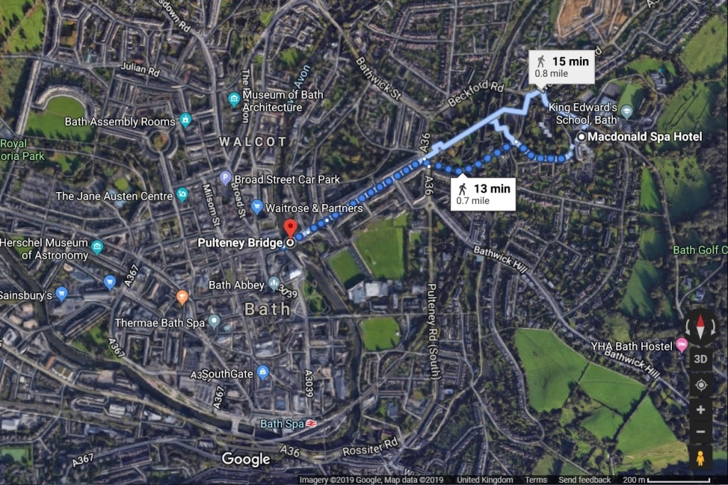 Google Map of Bath showing the location of the MacDonald Bath Spa Hotel
