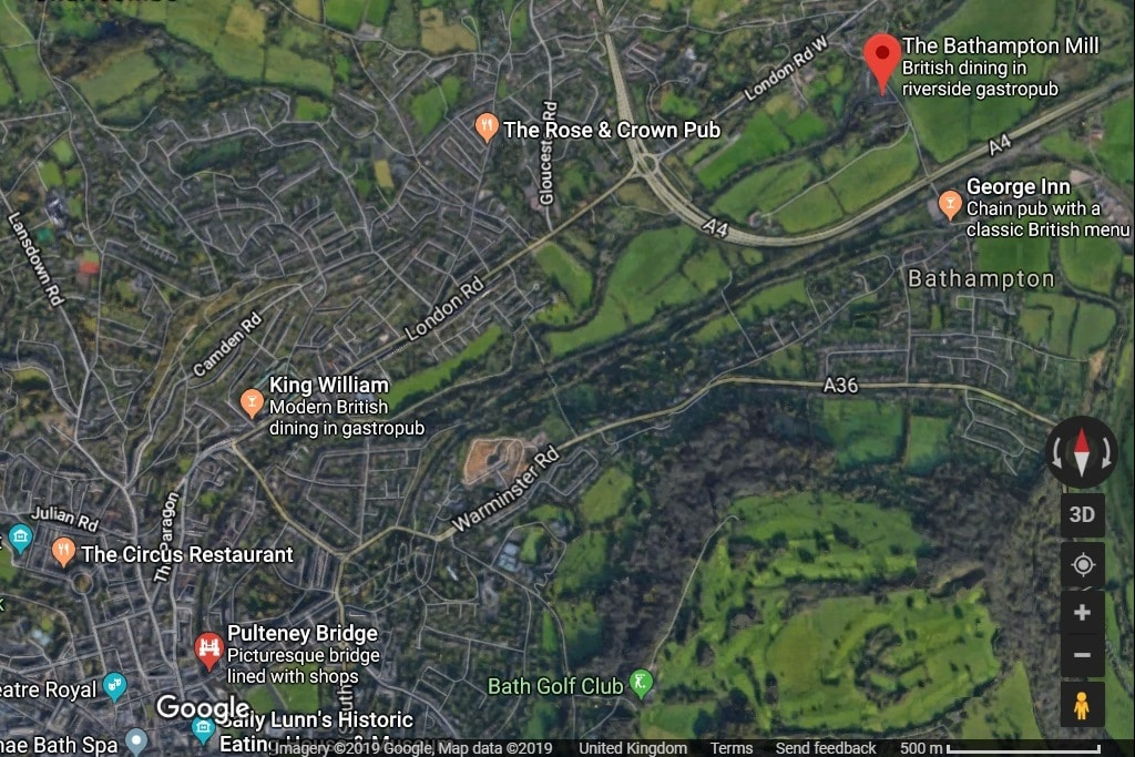 Google Maps satellite view of Bath showing the route of the boat trip