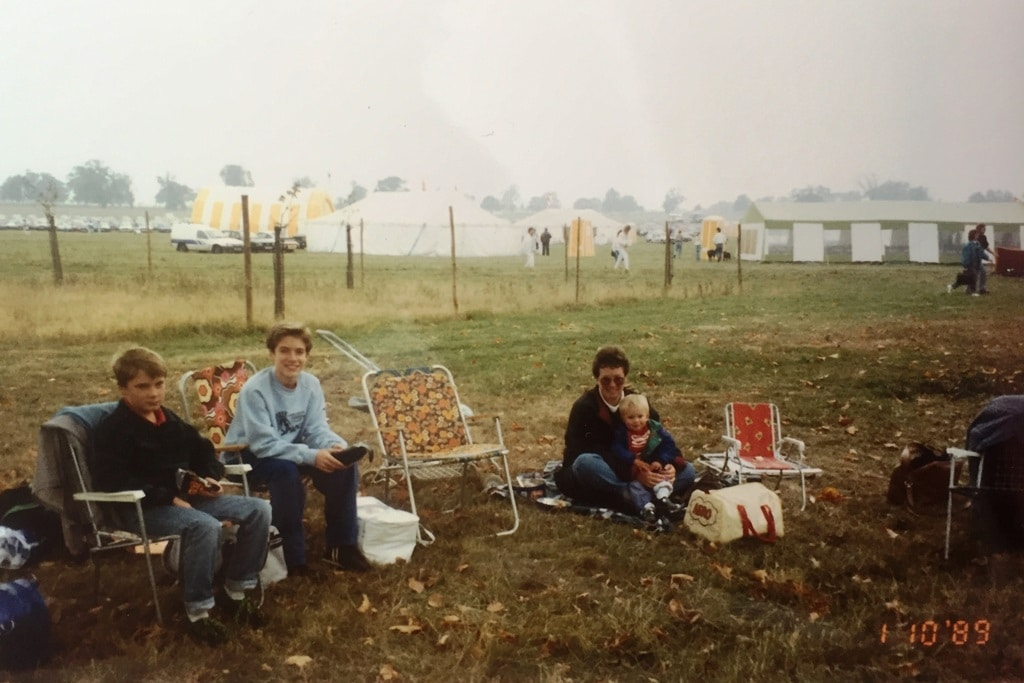 Me and my pal Dan in 1989 sitting on deck chairs in Windsor Great Park