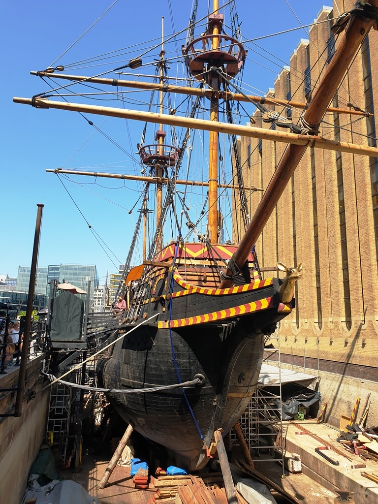 The Golden Hinde ship in dry dock by London Bridge