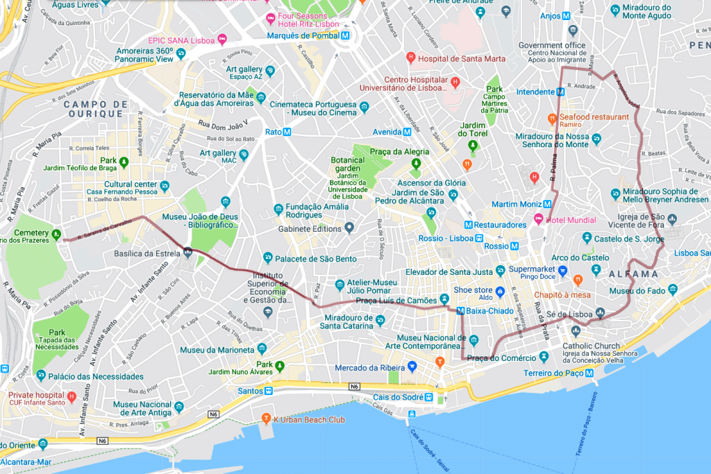 Lisbon Tram 28 route map - Google Maps