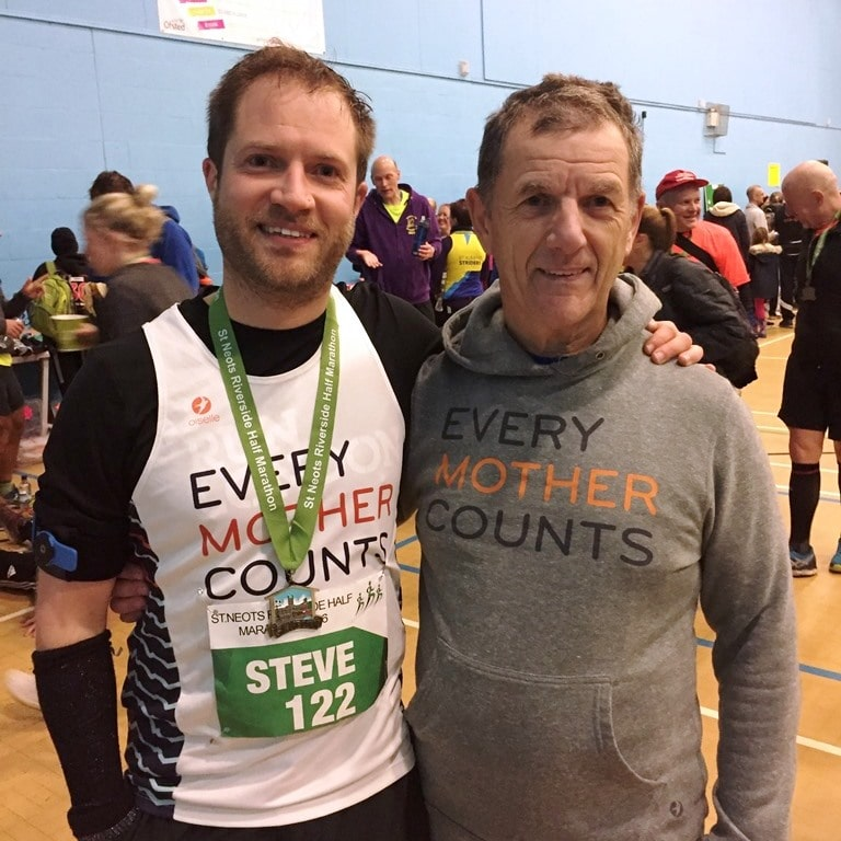 Father and son at the end of the St Neots half marathon