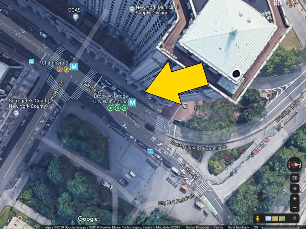 Arial Google satellite view of Chambers Street subway station