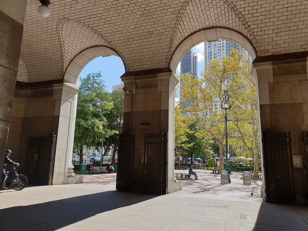 Looking out towards the Tweed Courthouse in New York