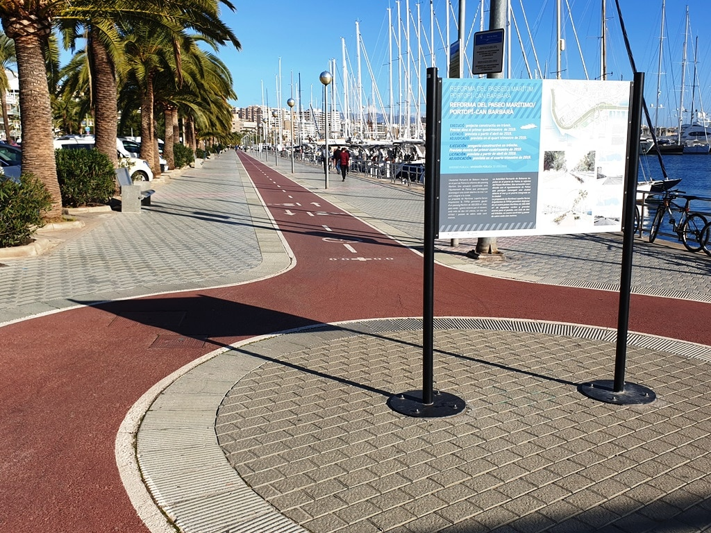 The Paseo Marítimo de Palma bike route roundabout