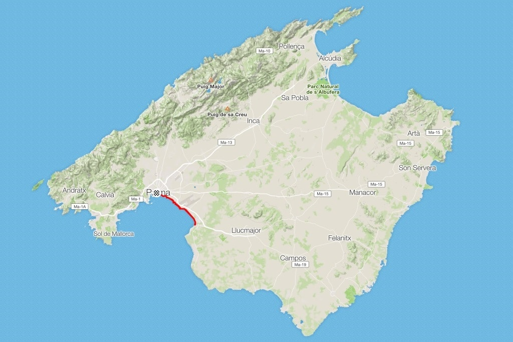Map of Mallorca showing Palma to S'Arenal bike route