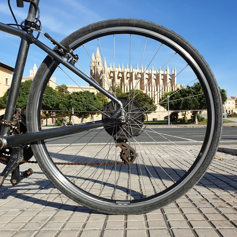 Palma Cathedral looking through a bicycle wheel
