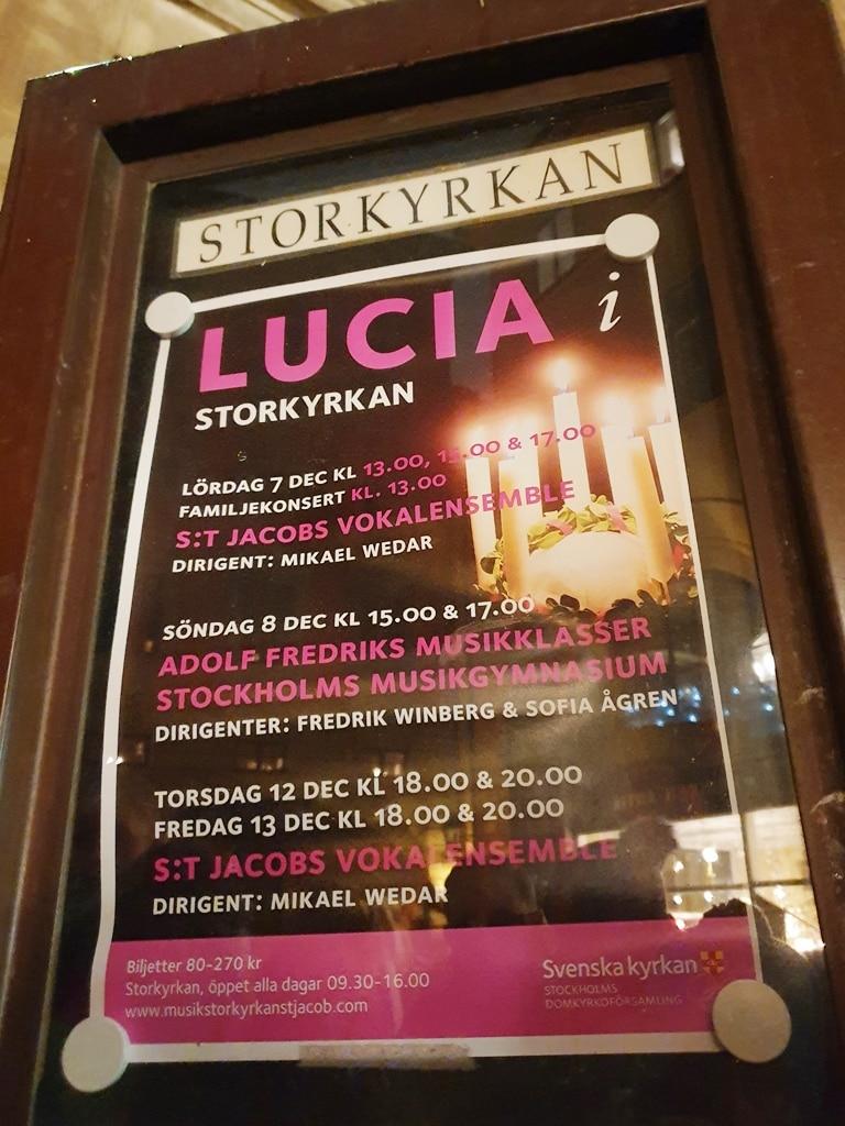 Lucia Storkyrkan noticeboard poster