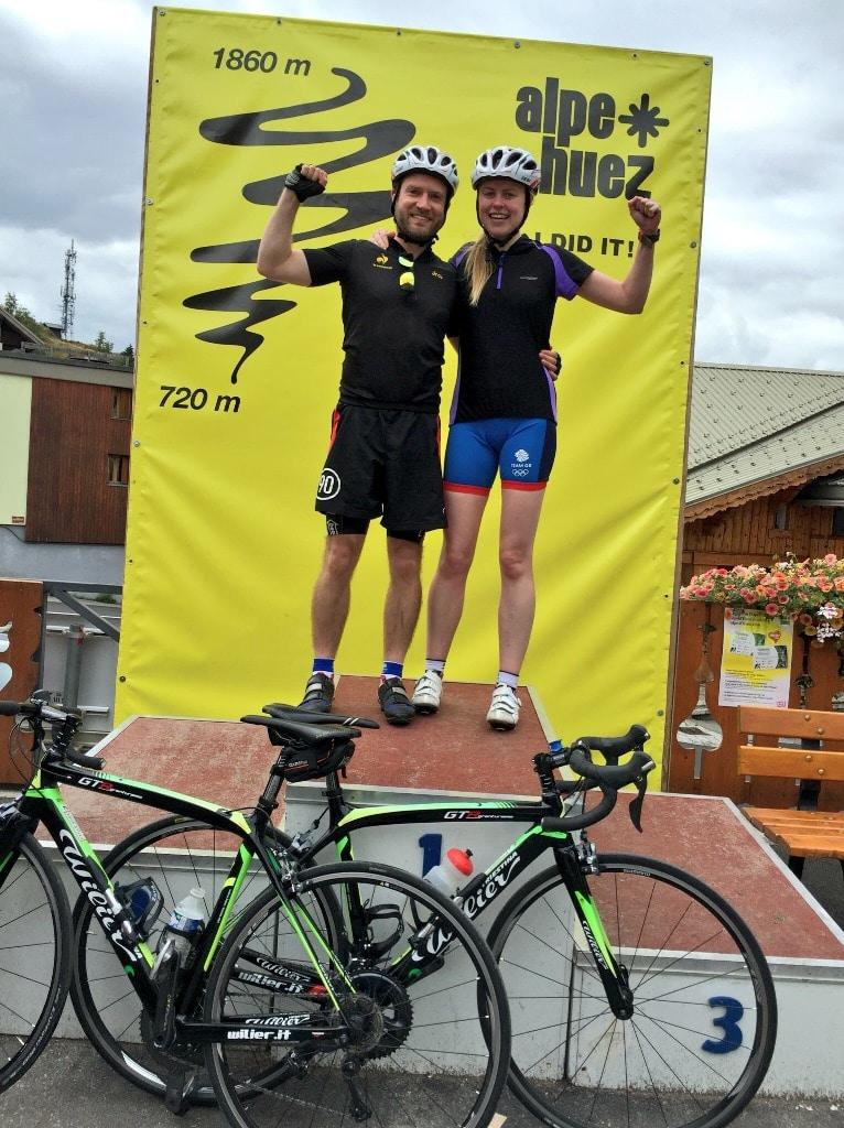 Celebrating on the Alpe d'Huez tourist finish podium