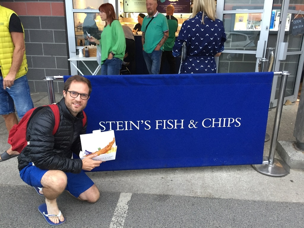 Enjoying a delicious portion of Rick Stein's fish and chips