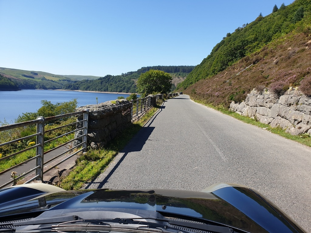 Driving roads in Wales. The one next to the Caban Coch reservoir
