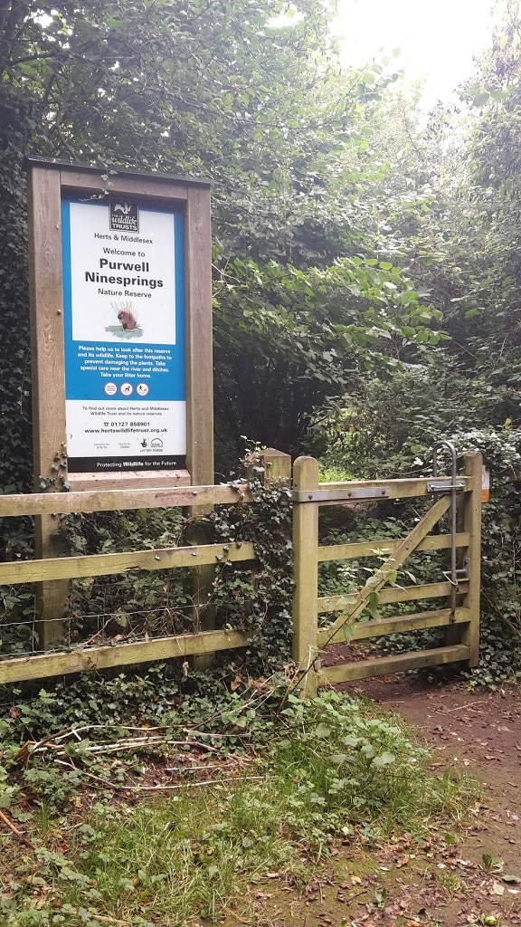 Entrance to the Purwell Ninesprings Nature Reserve