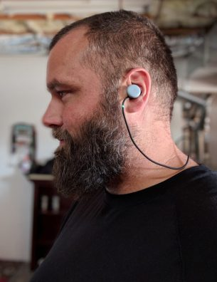 pixel buds on big head