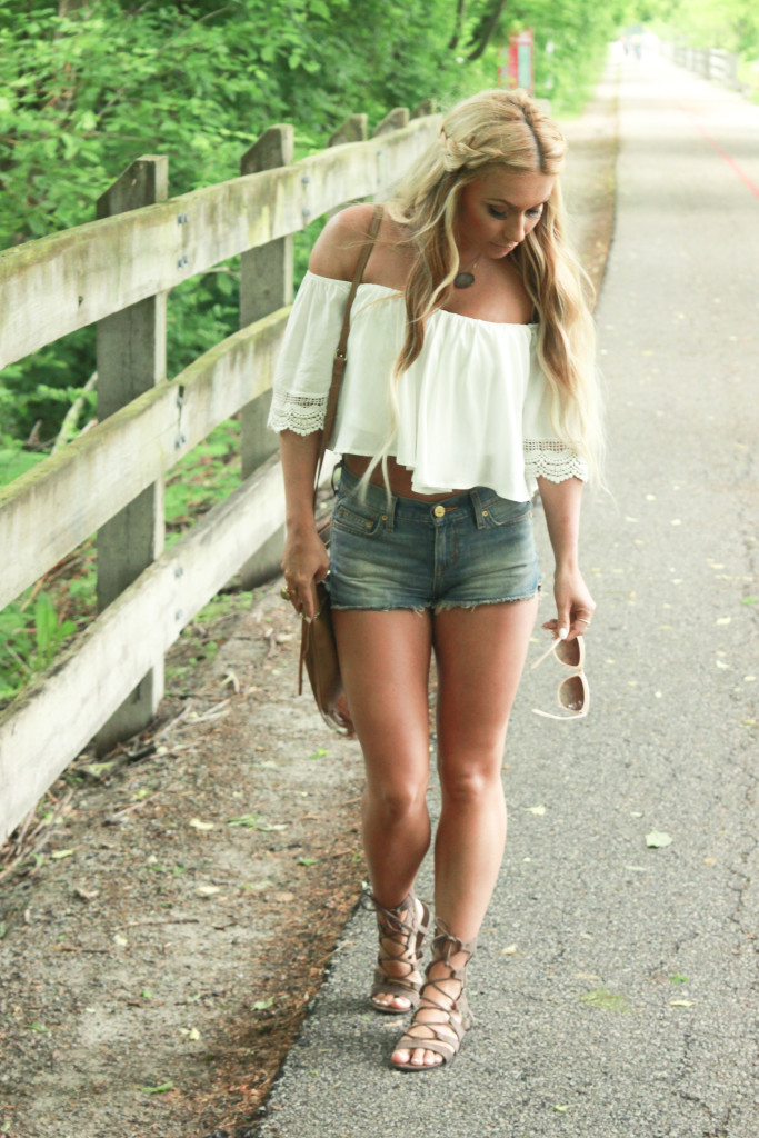 white off the shoulder top, destroyed denim, white and denim, gladiator sandals