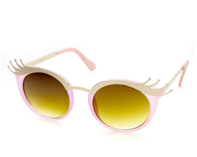 cat eye sunglasses, gold sunglasses, eye lash sunglasses