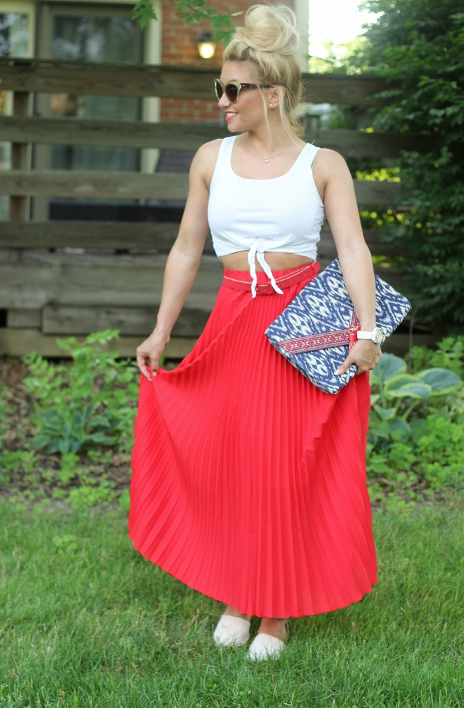 red maxi, maxi skirt, summer casual, style blog, blog style, what i wore, red white and blue