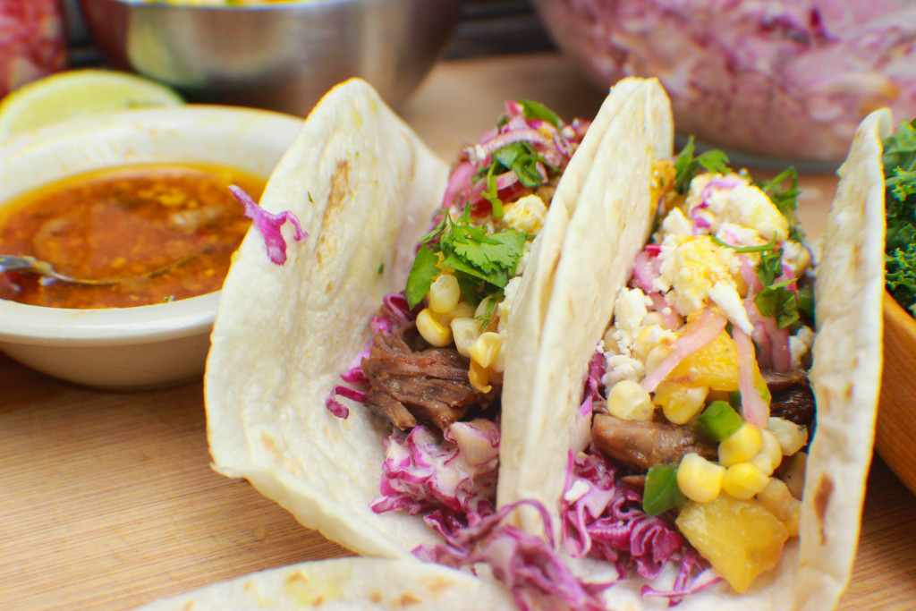 short rib tacos, taco tuesday, taco night, fresh ingredients, mango kabbage slaw, peach jalapeno corn salsa, delicious