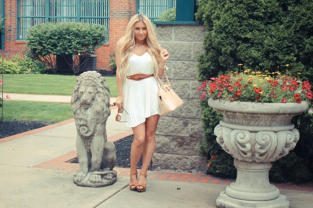 pleats, white pleated dress, leopard platforms, blond waves, pleated mini dress, white mini dress