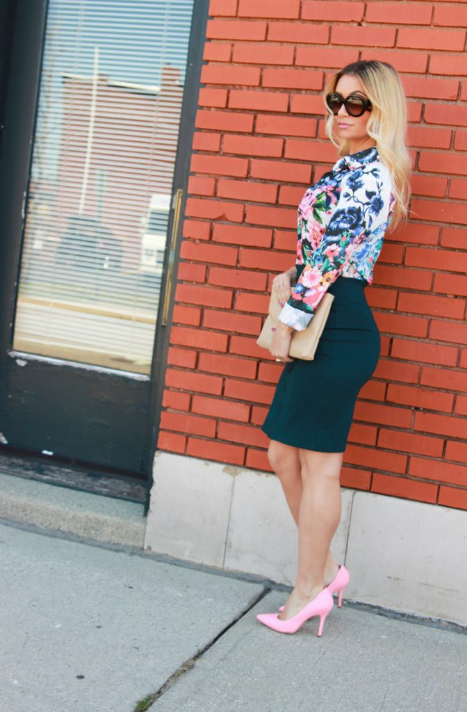 f20c0bdc9ca Floral blouse and pink pumps.