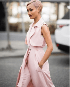 Australian fashion blogger, @micahgianneli literally slays everything she wears. This pink vest is linked below from hot miami styles.