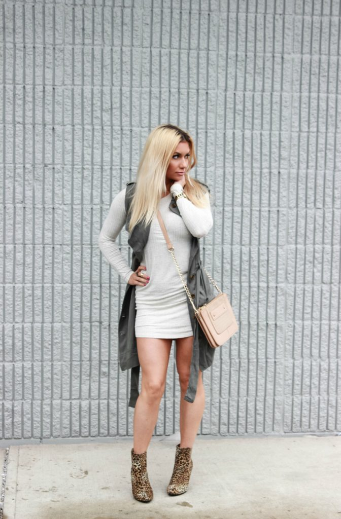 Leopard booties and trench vest.