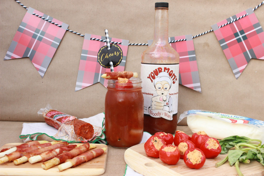 Your Mom's Bloody Mary Mix with proscuitto wrapped asparagus and mozzarella-pepperoni stuffed peppadews.