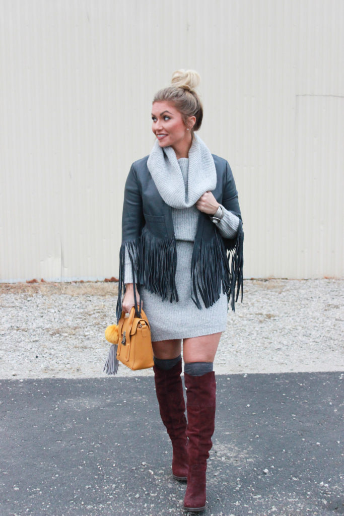 Target Sweater Dress, Otk boots and fringe leather jacket.