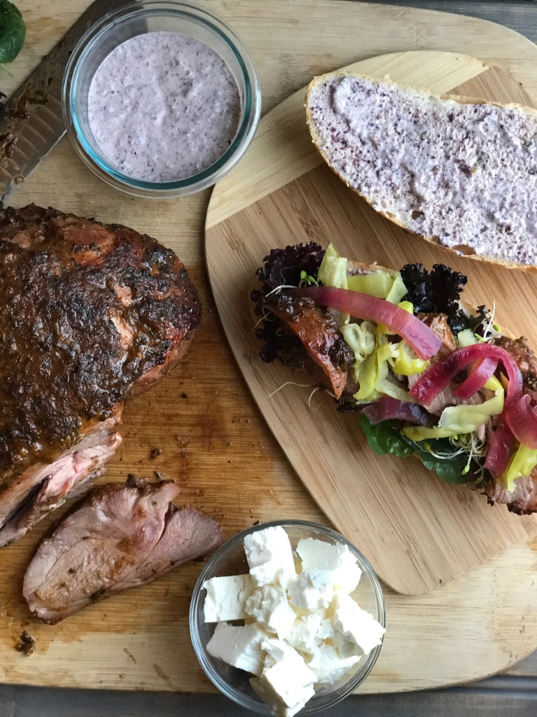 Smoked Leg of Lamb Greek Sandwiches