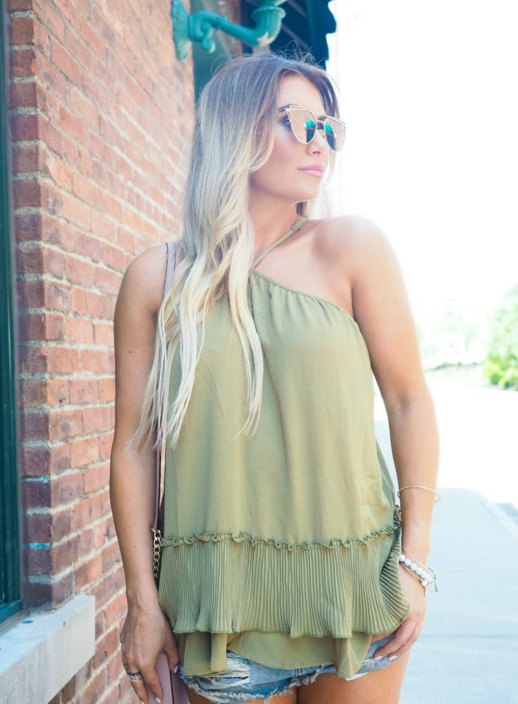 LolaBlue Boutique green ruffle tank.