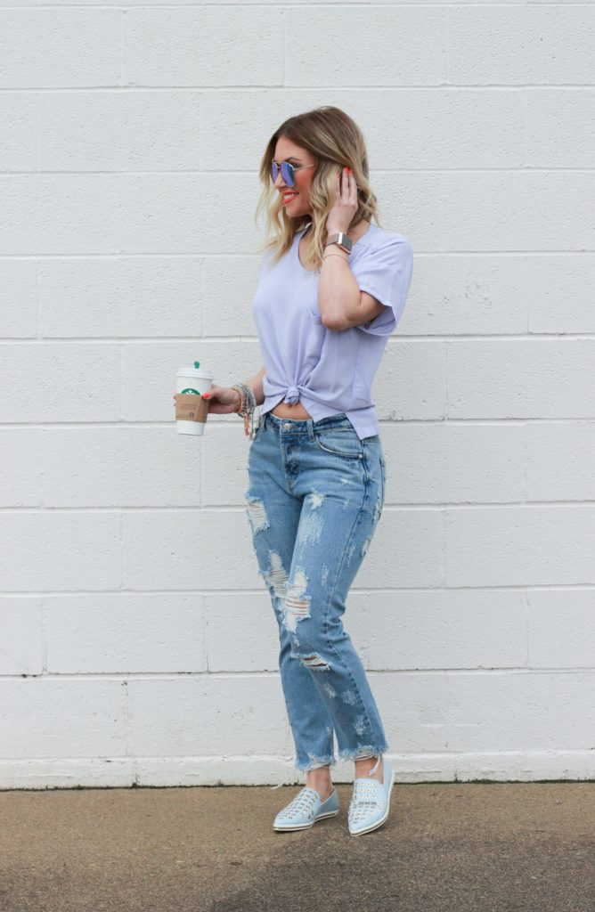 Vici Doll Destroyed Boyfriend jeans.