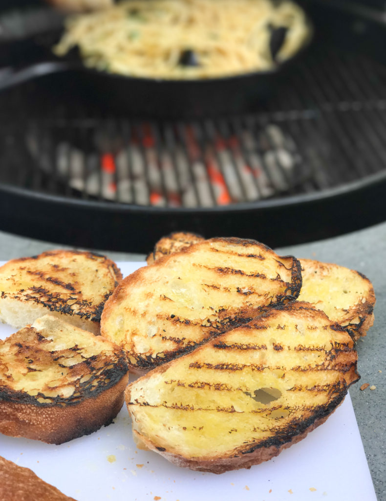 Grilled Bread with Cast Iron Bucatini