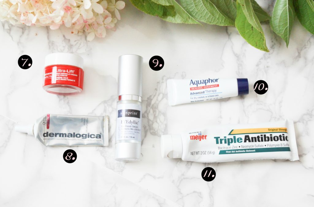 Favorite eye and lip products for skincare.