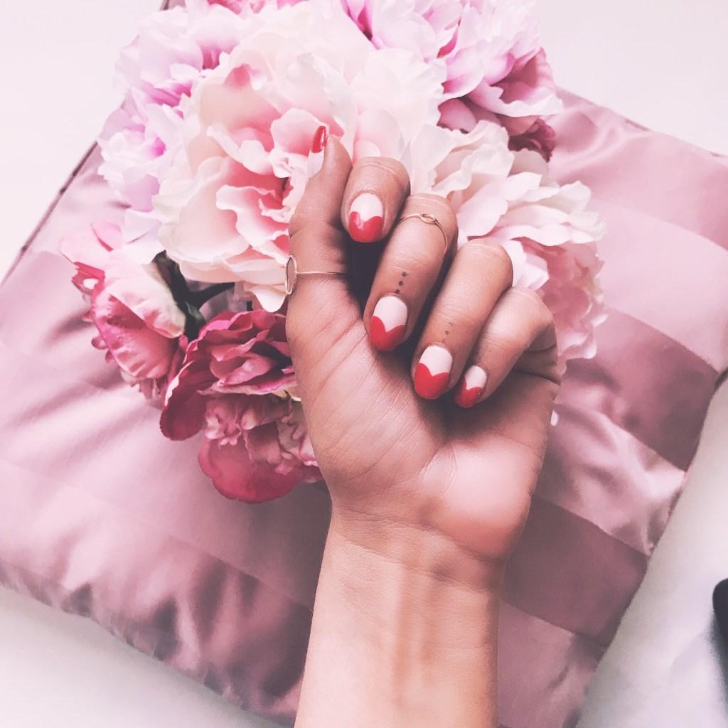 Minimalist nail art for valentines day.