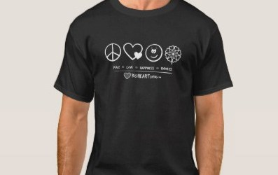 Apparel – Peace, Love, Happiness, and Kindness (on dark color)