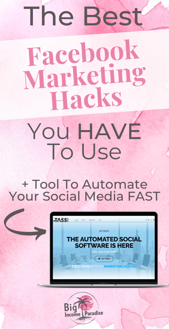 If you're using Facebook to market your Online Business, but you're not seeing any results, then try these BEST Facebook Marketing Hacks. Test them out and see how they work for your online business. Also try out the tool that will help automate your social media fast! Check it out here and don't forget to Re-Pin this. #BigIncomeParadise #FacebookMarketingHacks #facebookmarketingtips #facebookmarketingstrategy #facebookmarketingstrategies